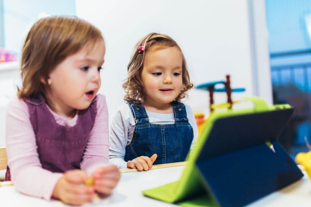 Kids using tablet
